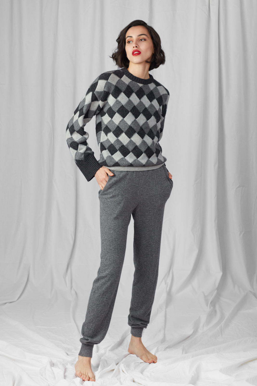 Jogger Trousers from Italian Merino - Grey by Ami Amalia on curated-crowd.com