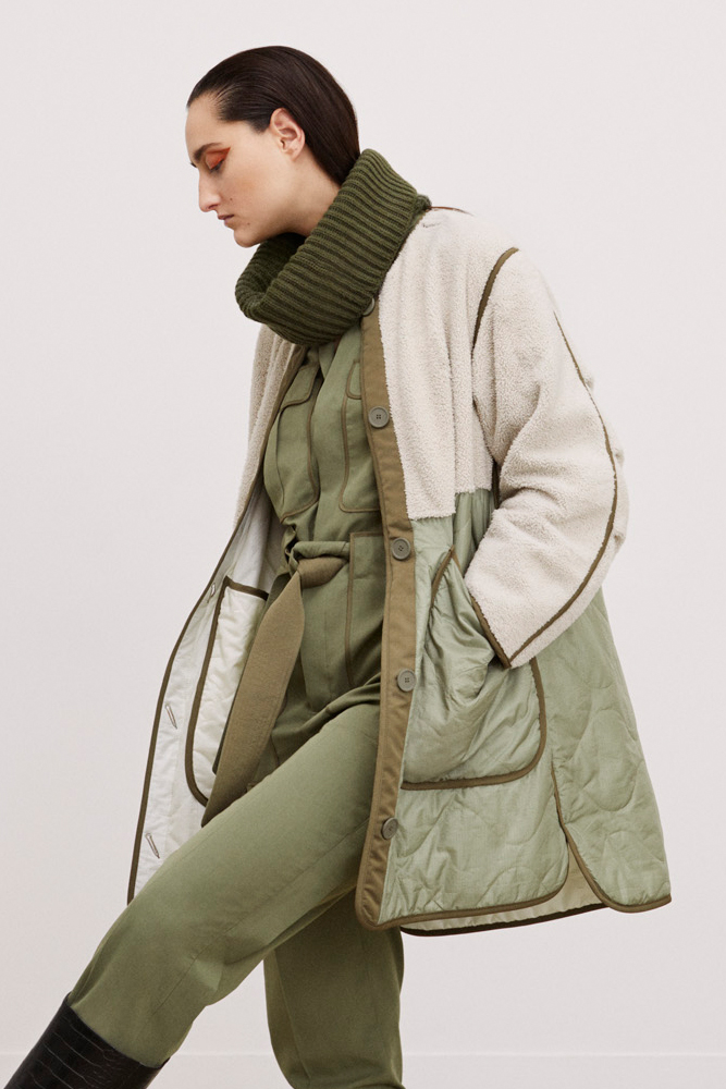 The Reversible Shearling Combo Quilt - Olive Green by Marfa Stance on curated-crowd.com
