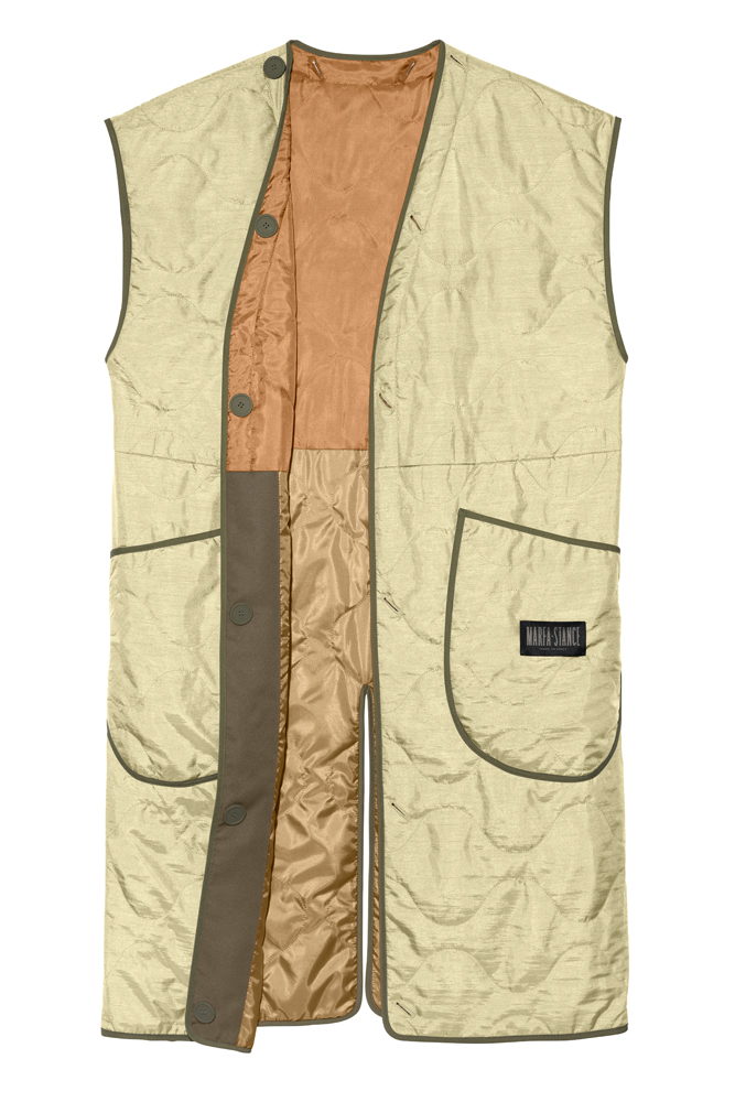 The Reversible Colour Block Quilted Vest - Burnt Orange by Marfa Stance on curated-crowd.com