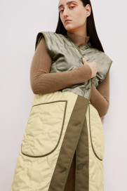 The Reversible Colour Block Quilted Vest - Olive by Marfa Stance on curated-crowd.com