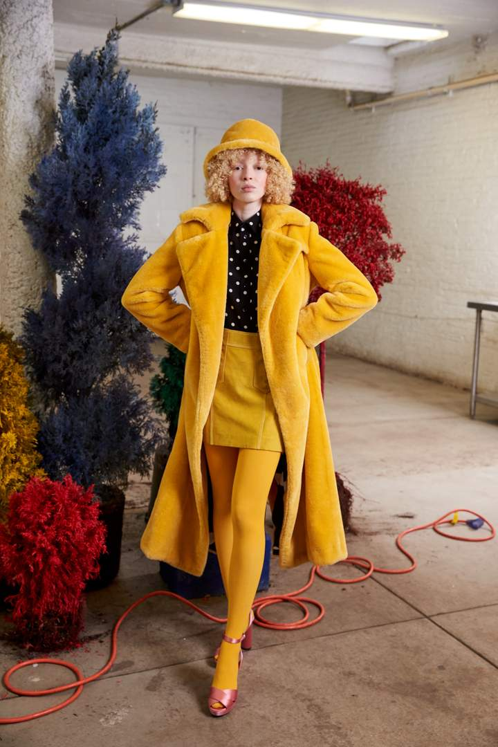 Genevieve - Faux Fur Yellow by Maison Atia on curated-crowd.com