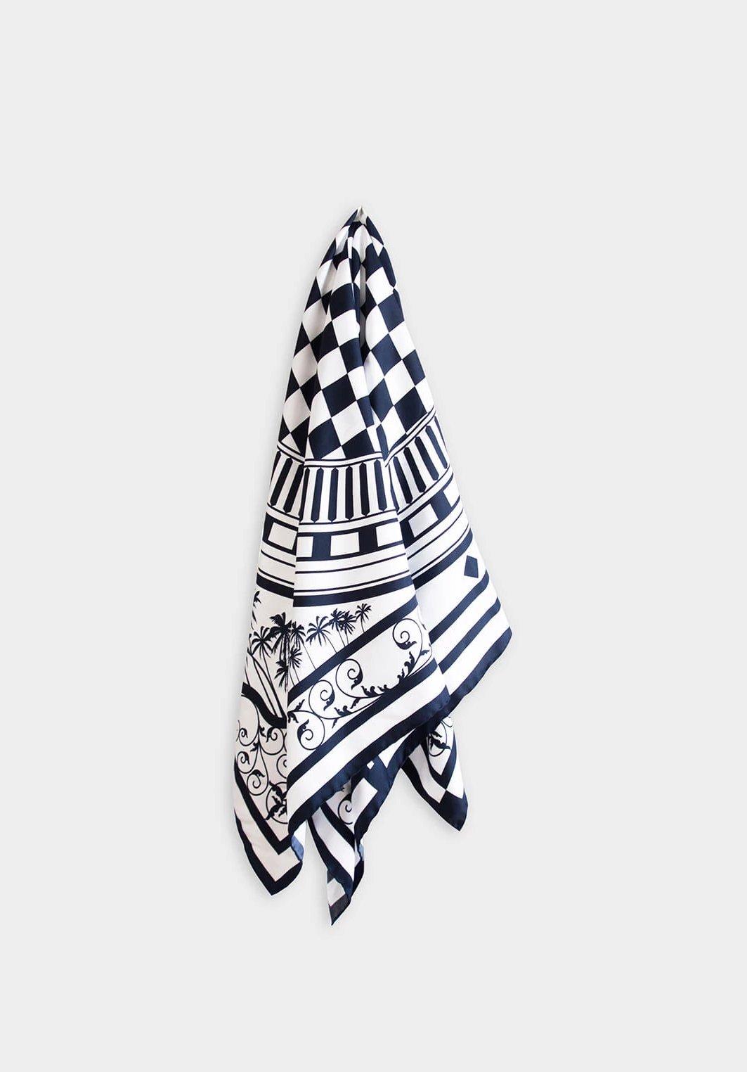 Eastern & Oriental Silk Scarf, Black White by Nonamu on curated-crowd.com