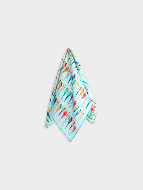 Porcelain Dancing Spoons Silk Scarf, Light Blue by Nonamu on curated-crowd.com