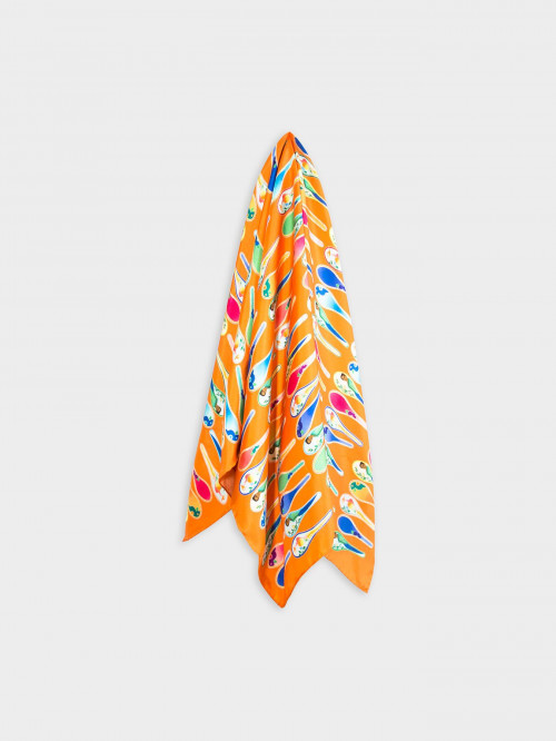 Porcelain Dancing Spoons Silk Scarf, Orange by Nonamu on curated-crowd.com