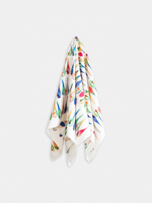 Porcelain Dancing Spoons Silk Scarf, White by Nonamu on curated-crowd.com