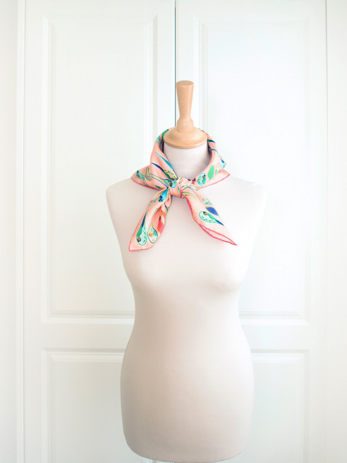 Porcelain Dancing Spoons Silk Scarf, Peach by Nonamu on curated-crowd.com