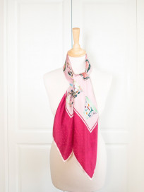 Porcelain Teatime Teacup Silk Scarf - Garnet & Pink by Nonamu on curated-crowd.com