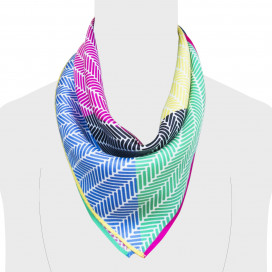 Herringbone Lapis Silk Scarf, Multi Colour Blue Green Pink Yellow Black by Nonamu on curated-crowd.com