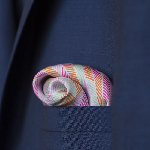 Herringbone Lapis Silk Scarf, Pastel Blue Pink Green Orange by Nonamu on curated-crowd.com