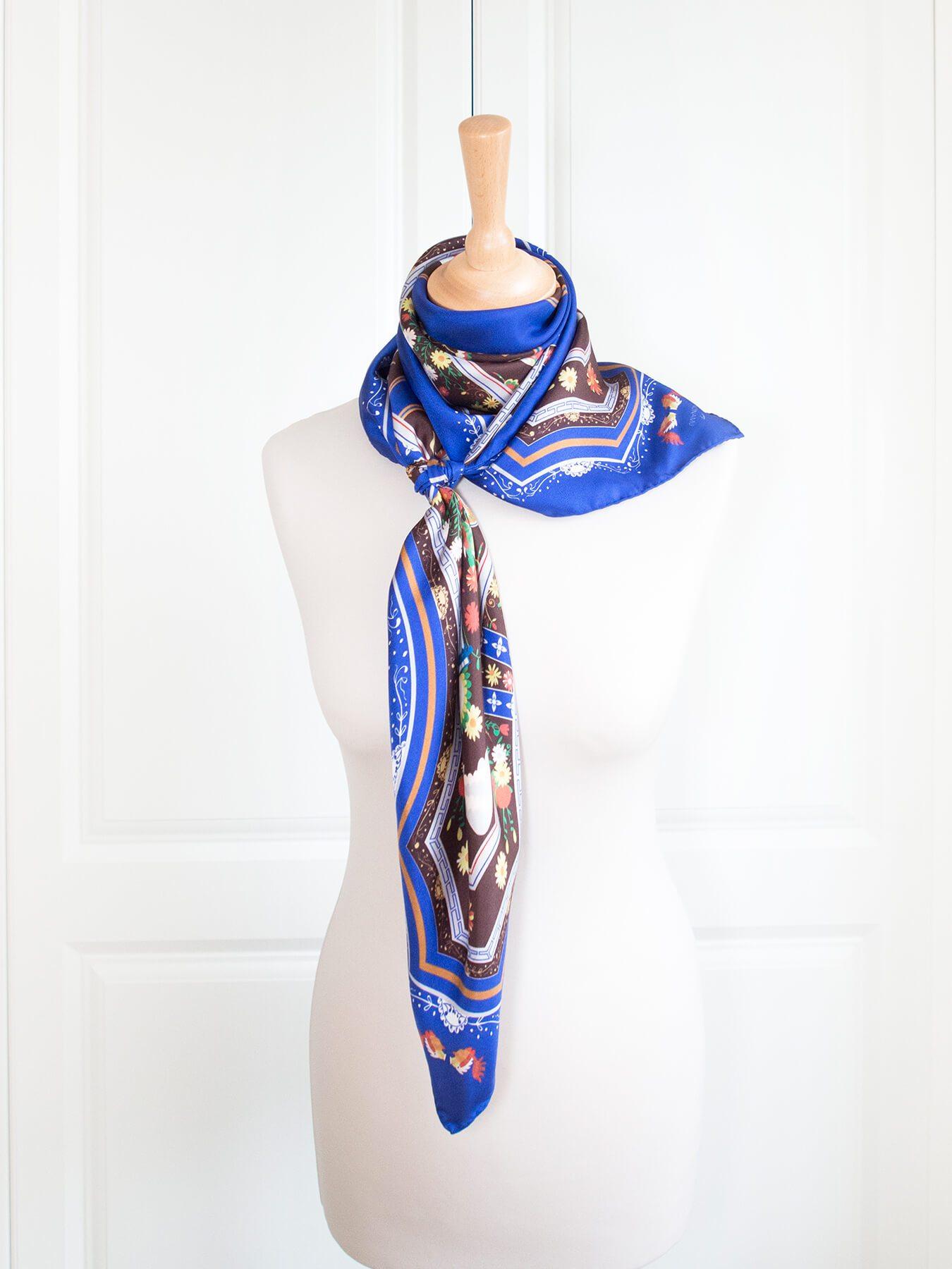 Blue Mansion Silk Scarf, Indigo Blue by Nonamu on curated-crowd.com