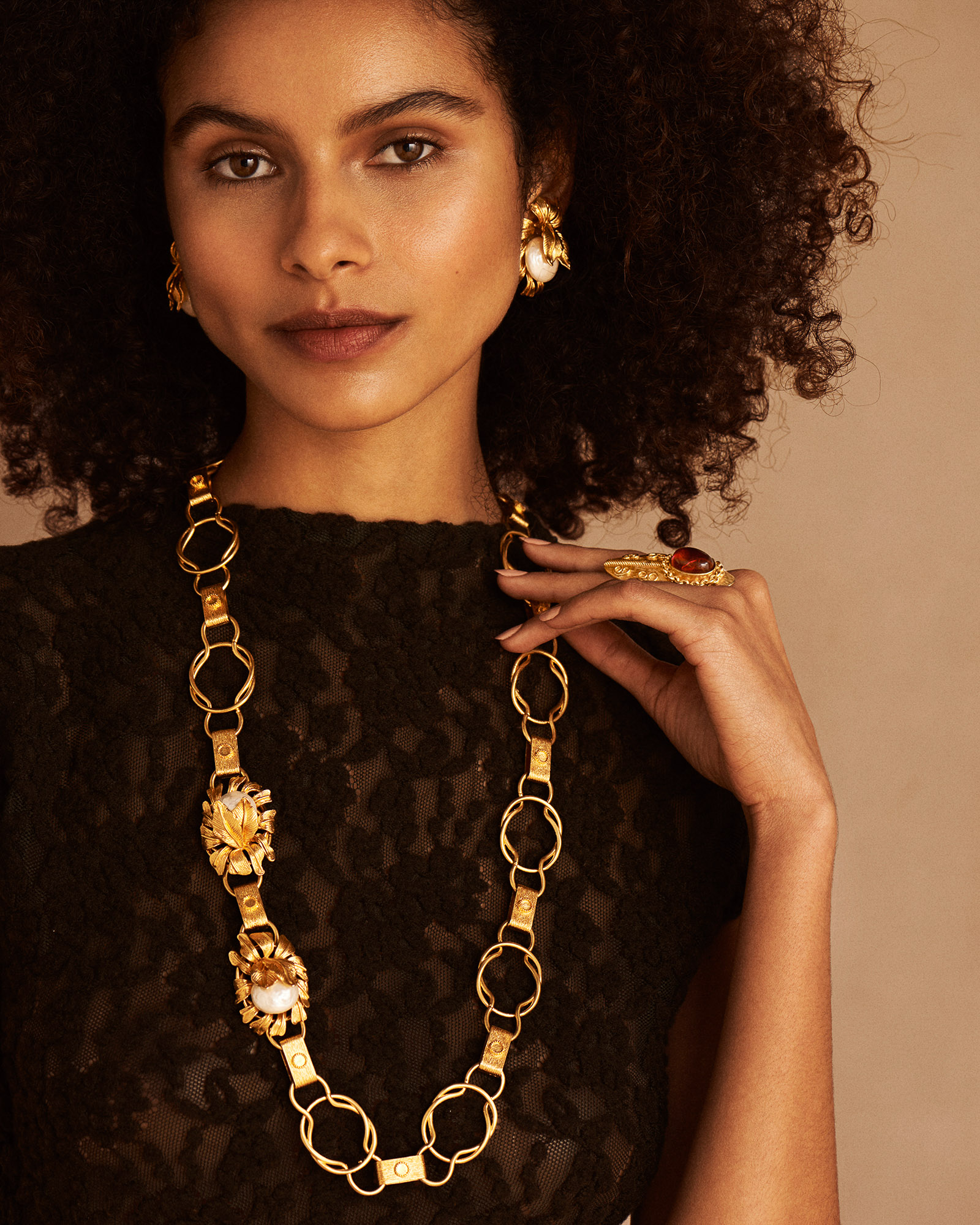 Moon Flower Belt/Necklace - Gold by Sonia Petroff on curated-crowd.com