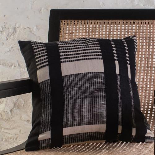 Bunaii Cushion Cover - Black Stripes by Kam Ce Kam on curated-crowd.com