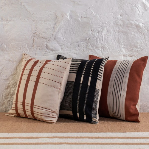 Bunaii Cushion Cover - Black, White and Burnt Orange by Kam Ce Kam on curated-crowd.com