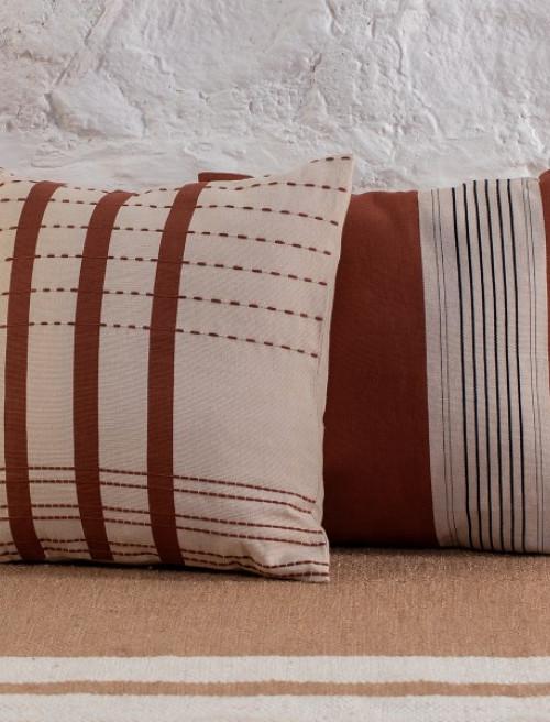 Bunaii Cushion Cover - Burnt Orange Stripes by Kam Ce Kam on curated-crowd.com