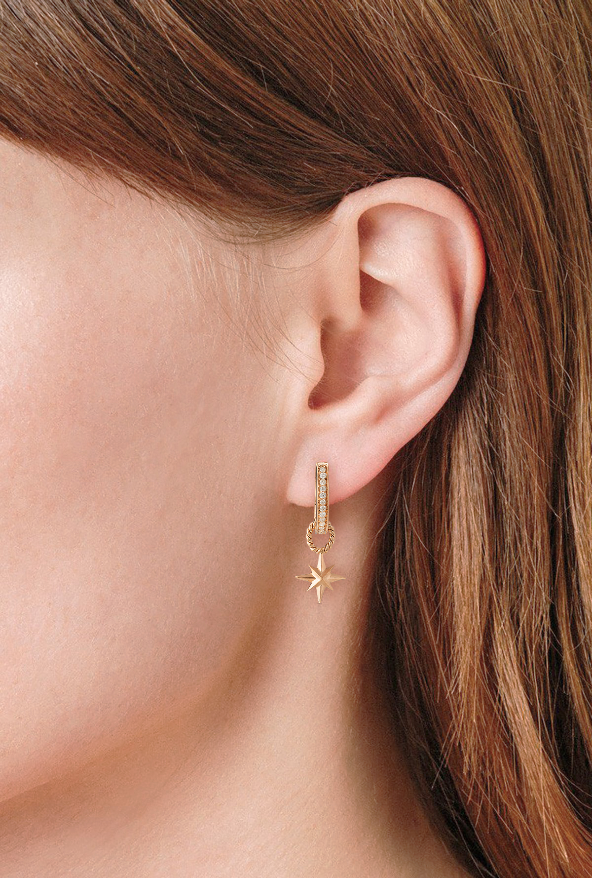 Diamond Hoops with Detachable Star Charms - 18K Gold by Aveen on curated-crowd.com