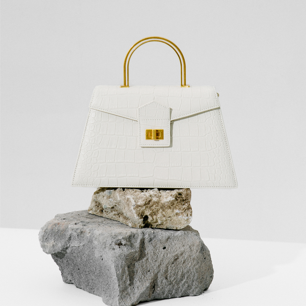 Cream White Croc Large Le Book Bag by APEDE MOD on curated-crowd.com