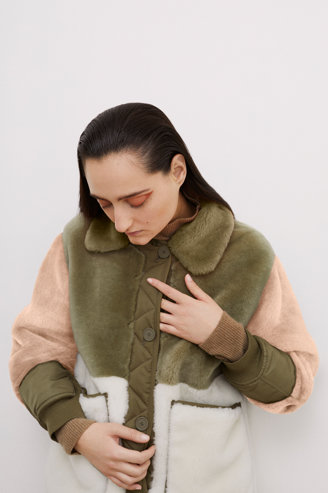 The Reversible Shearling Bomber - Blush and Olive by Marfa Stance on curated-crowd.com