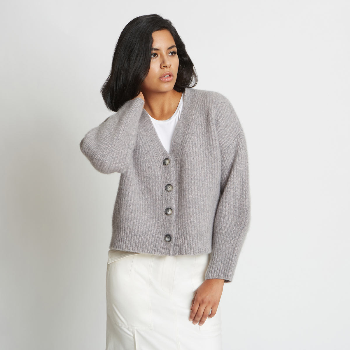Alix Ribbed Cashmere Cardigan by Santicler on curated-crowd.com