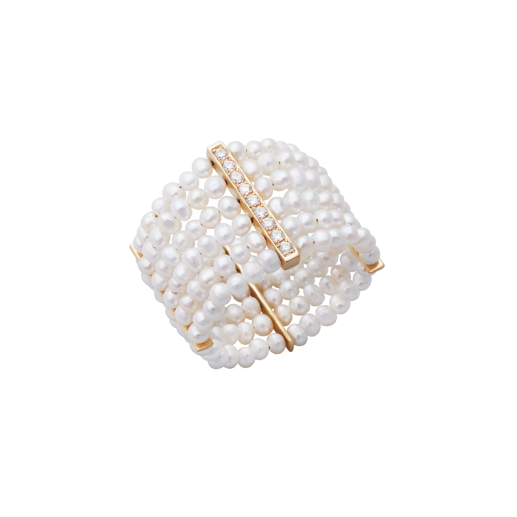 Small Bandage Pearl Ring with Diamond Pavé by Jewelry Lab on curated-crowd.com