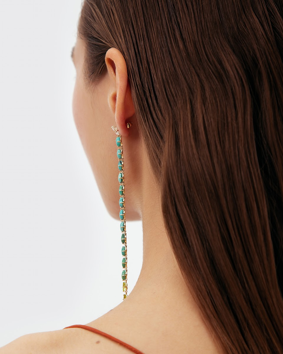 Turquoise Snake Earring by Jewelry Lab on curated-crowd.com
