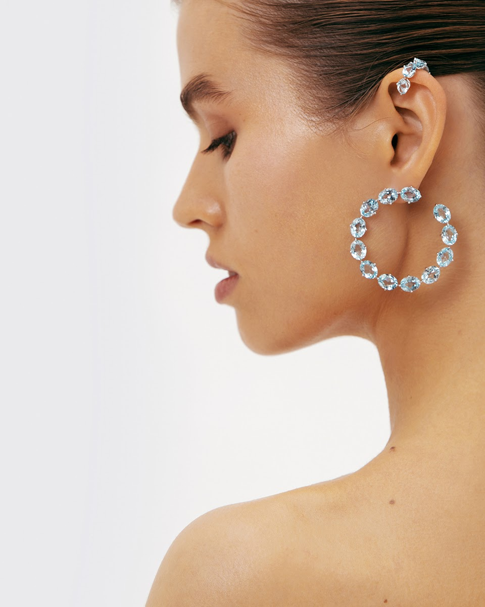 Sky Blue Topaz Hoop Earrings by Jewelry Lab on curated-crowd.com