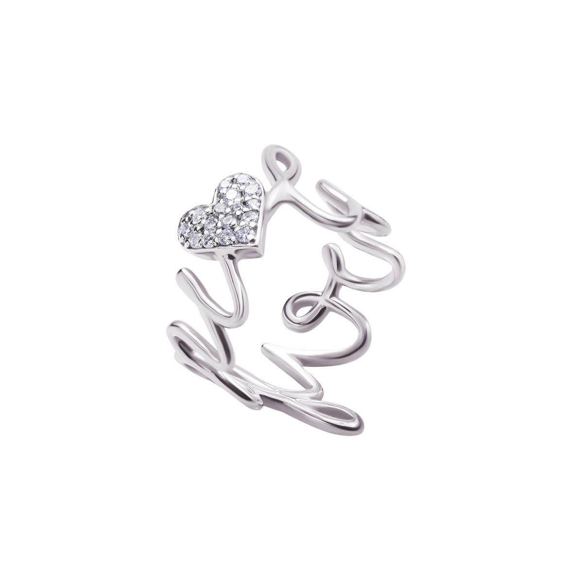 Love You White Gold Diamond Ring by Jewelry Lab on curated-crowd.com