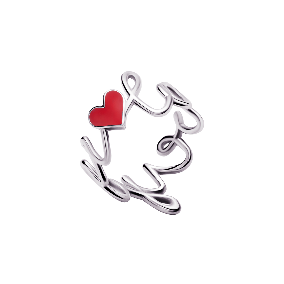 Love You White Gold Enamel Ring by Jewelry Lab on curated-crowd.com