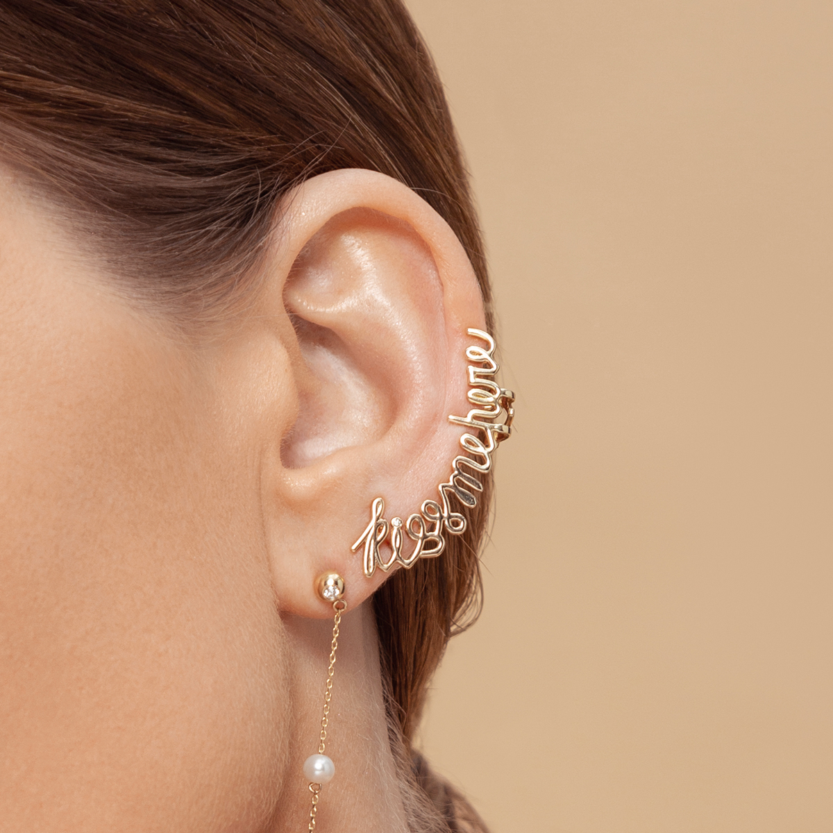 Kiss Me Here Diamond Gold Earcuffs by Jewelry Lab on curated-crowd.com