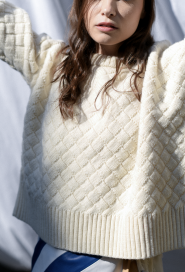 Clouded Squares Sweater (Waist Length Edition) by Ami Amalia on curated-crowd.com