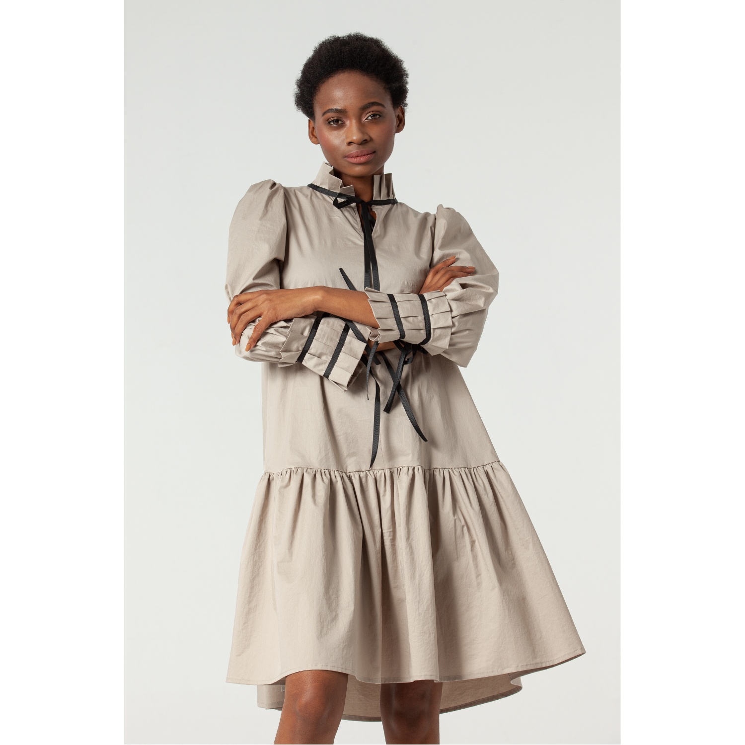 Simone Beige Cotton Dress by Lorenz Peter on curated-crowd.com