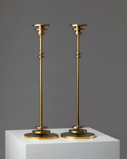 Pair of candlesticks designed by Johannes Bjerg, Sweden. 1950's. by Modernity on curated-crowd.com