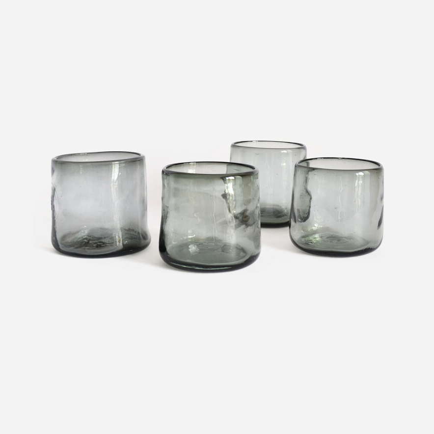 Midnight Set of 4 Tumblers Handmade   Recycled Glass by La Muerte Tiene Permiso on curated-crowd.com