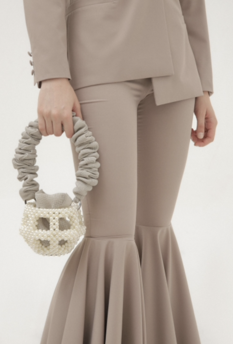 Mei Pearl Grey Pouch Bag by 0711 Tbilisi on curated-crowd.com