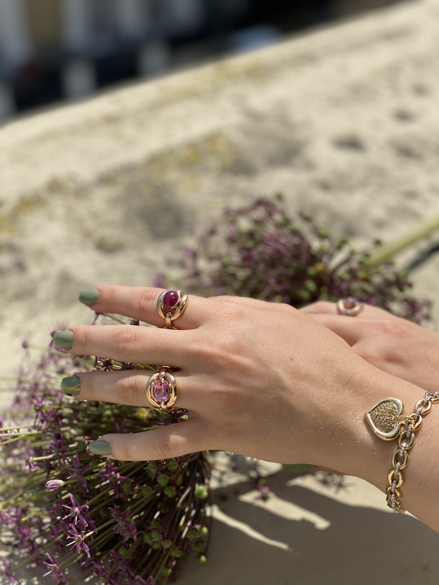 Catena Pink Topaz Ring by Nadine Aysoy on curated-crowd.com
