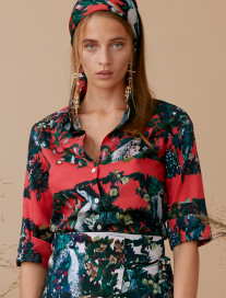 Red Peacock Patterned Shirt by Ailanto on curated-crowd.com