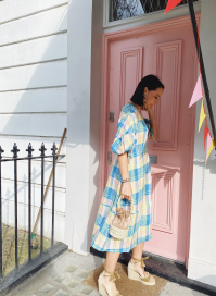 Dress In Caribbean Check by PAPER London on curated-crowd.com
