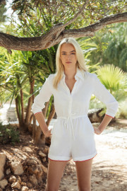 Portofino Playsuit in White by Oramai London on curated-crowd.com