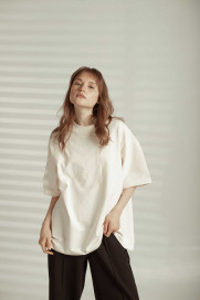White Oversize T-shirt by Z.G.EST on curated-crowd.com