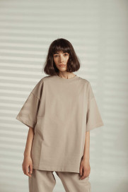 Beige Oversize T-shirt by Z.G.EST on curated-crowd.com