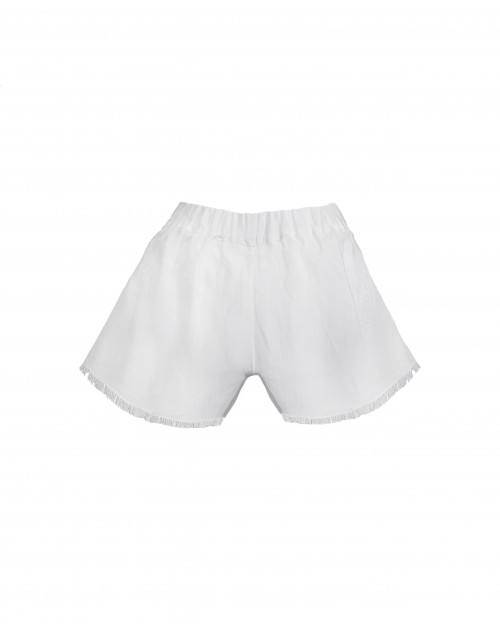 White Linen Shorts by Atelier Handmade on curated-crowd.com