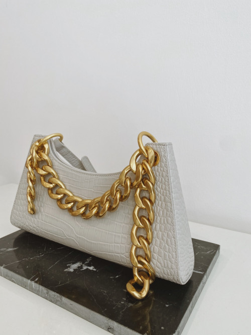 Froggy in Light Grey Croc with Gold Chain by APEDE MOD on curated-crowd.com