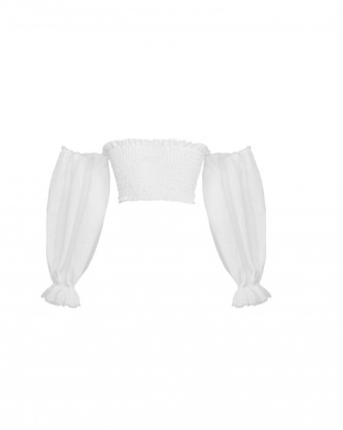 Shirred Crop Top by Atelier Handmade on curated-crowd.com