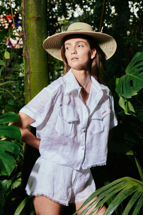 White Top With Pockets by Atelier Handmade on curated-crowd.com