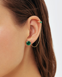 Octagon Emerald Earcuff In Yellow Gold by Jewelry Lab on curated-crowd.com