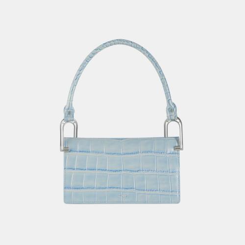 Sky Blue Croc Deco Line Shoulder Bag by APEDE MOD on curated-crowd.com