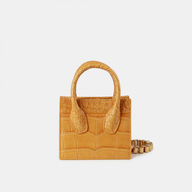Yellow Croc Poker Face Mini Tote by APEDE MOD on curated-crowd.com