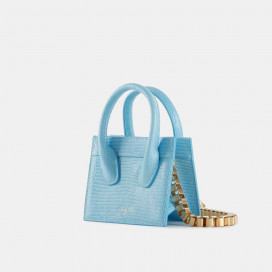 Sky Blue Lizard Poker Face Mini Tote by APEDE MOD on curated-crowd.com