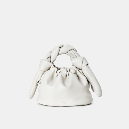 Cream White Knotty Bun Bag by APEDE MOD on curated-crowd.com