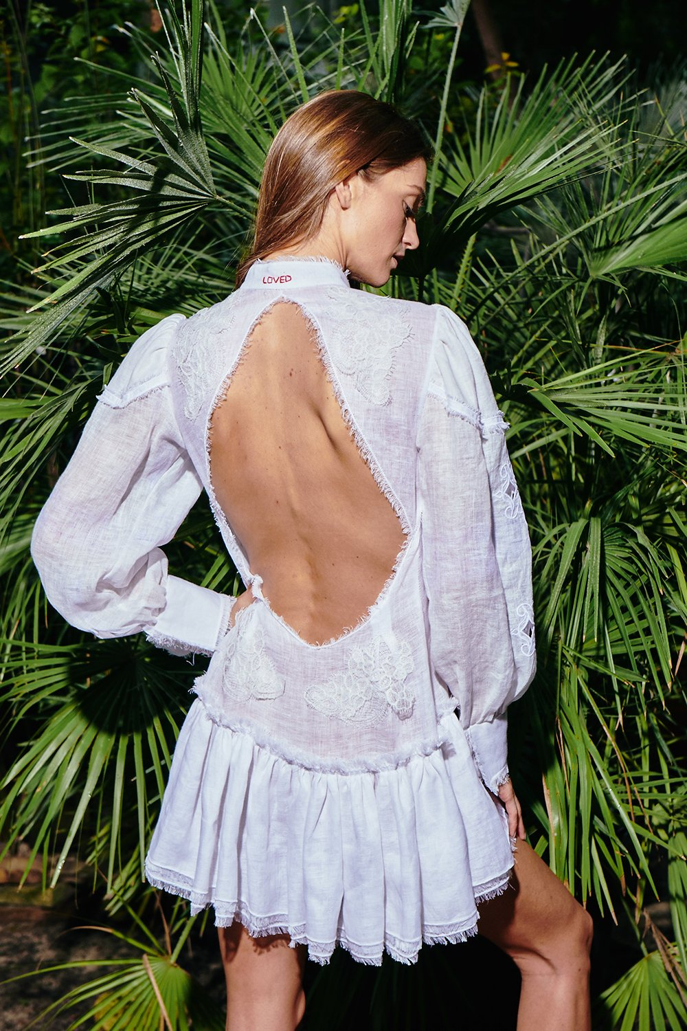 Embroidered Semi Fitted Backless Dress by Atelier Handmade on curated-crowd.com