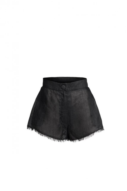 Black Linen Shorts by Atelier Handmade on curated-crowd.com